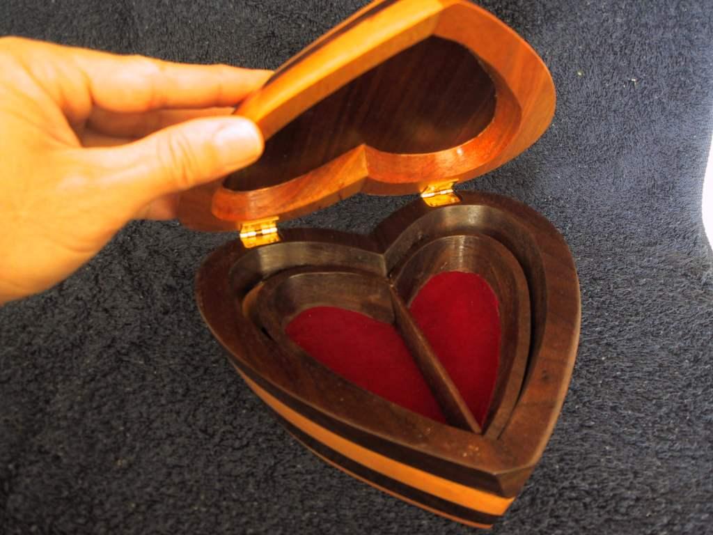 Walnut and Maple Heart Shaped Box